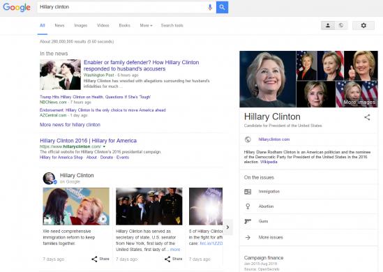 Hillary Clinton on Google