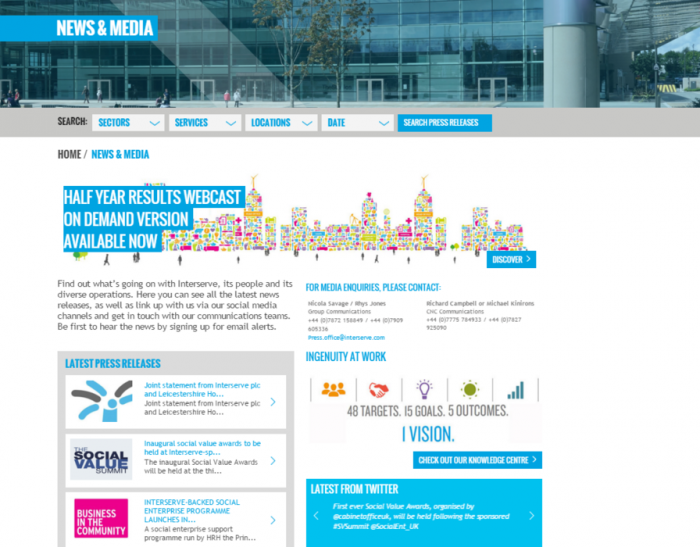 Interserve's News & Media page